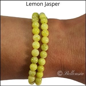 Two rows of lemon jasper round gemstones wrapped around wrist