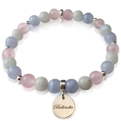 Female Bracelet with Moonstone Rose Quartz and Blue Lace Agate 6mm Round Gemstones and Bellensia Signature Sterling Silver Charm