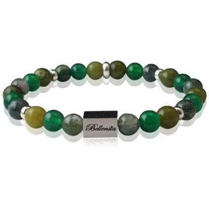 Nature Lovers Bracelet with Jade Green Agate and Green Moss Agate Gemstones