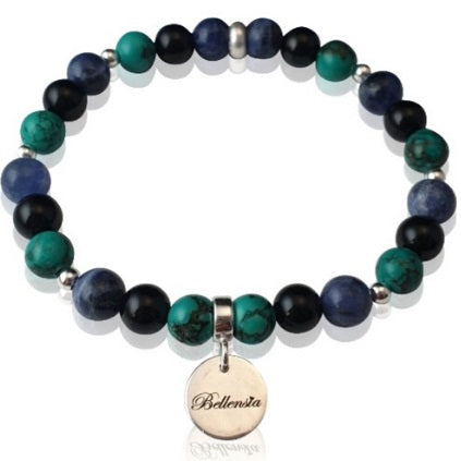 Bracelet with 6mm Turquoise Sodalite and Onyx Gemstones and Sterling Silver Bellensia Signature Charm