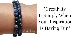 Sodalite 6mm Gemstones wrapped around wrist with a quote to the right of image