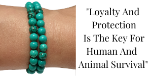 Turquoise 6mm round gemstones wrapped around wrist with a quote to right of image
