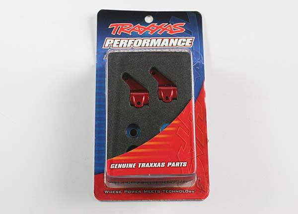 TRAXXAS STEERING BLOCKS (2) 6061-T6 RED ANODISED ALUM 5 X 11MM BALL BEARINGS (4)