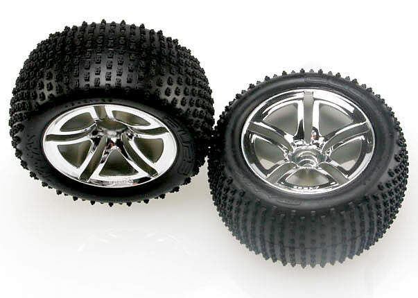 TRAXXAS TYRES & WHEELS, ASSEMBLES, (REAR GLUED)