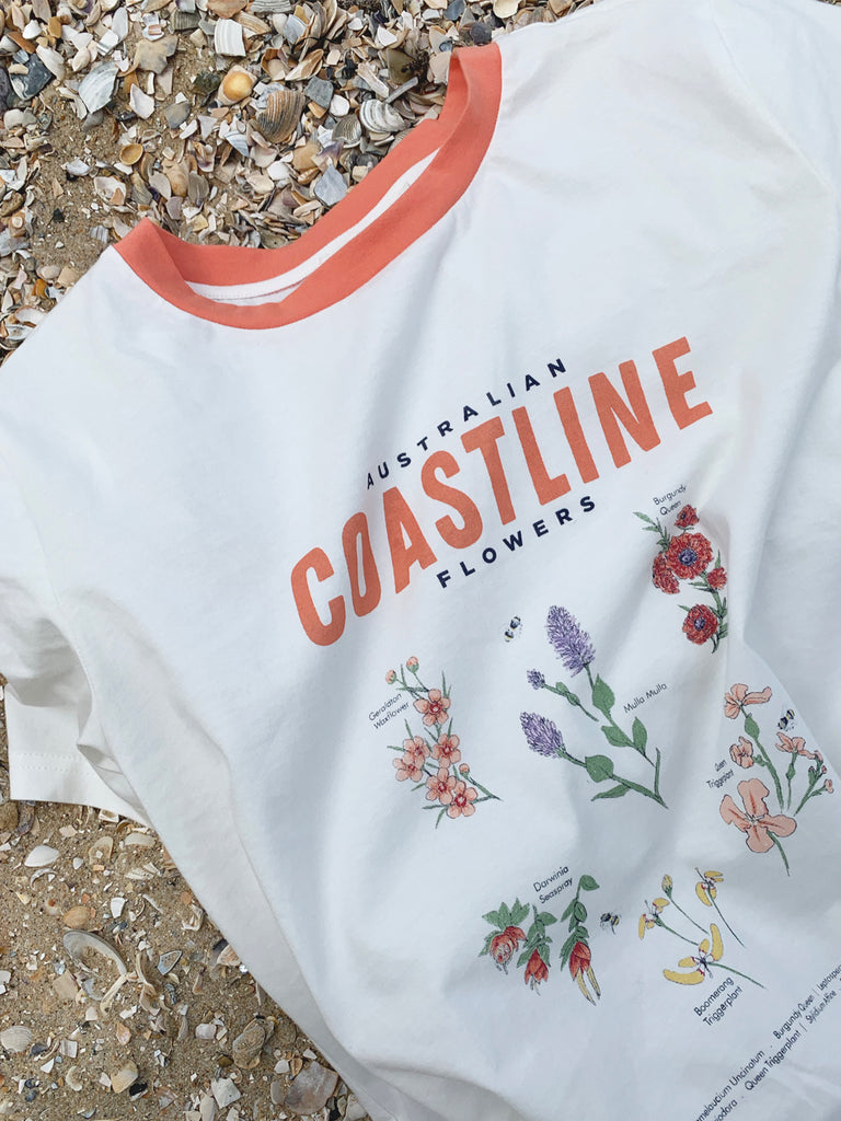 The Australian Coastline Flowers tee by RYDER, organic cotton