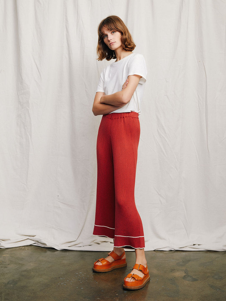 Rafa Rib Knit culottes on model