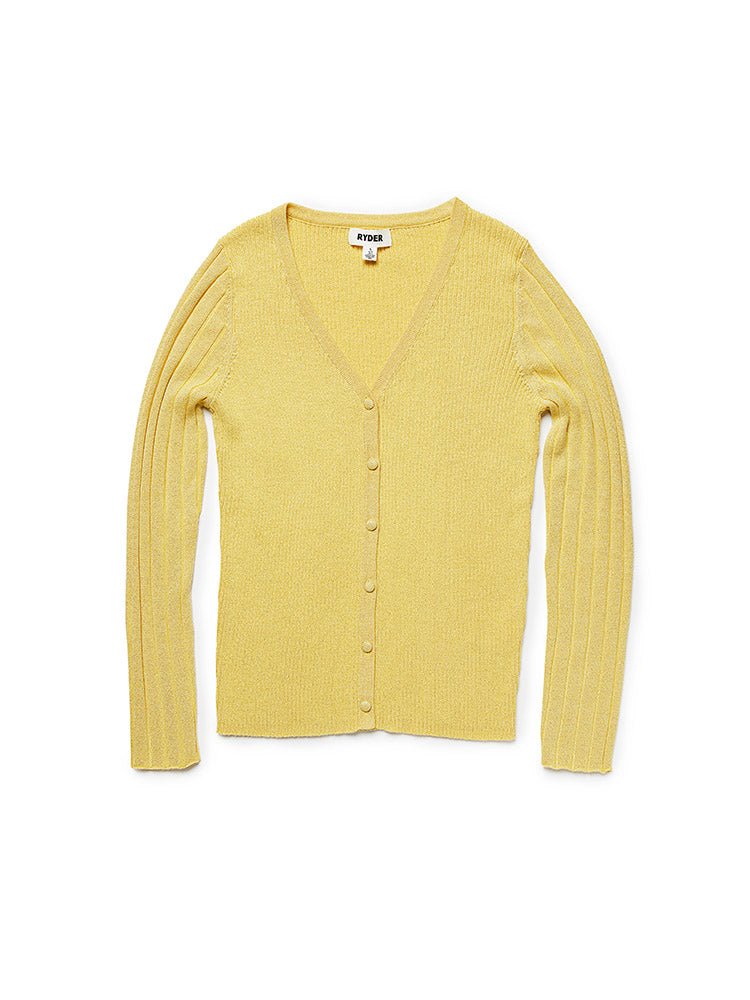 Daisy Knit Cardigan Lemon
