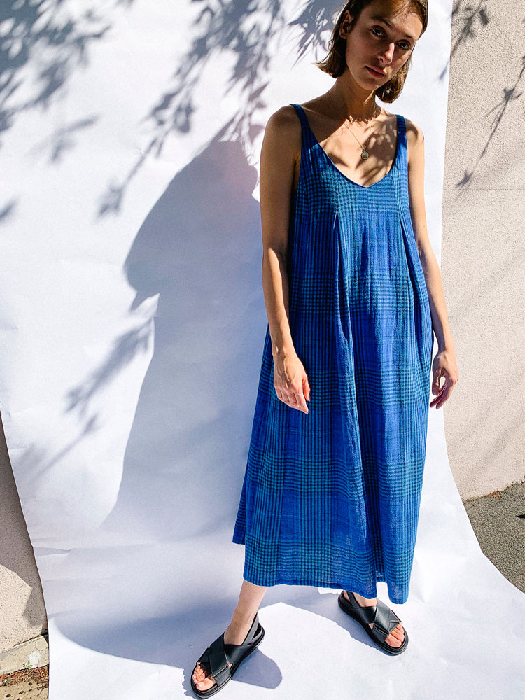 Remi Linen Midi Dress Plaid