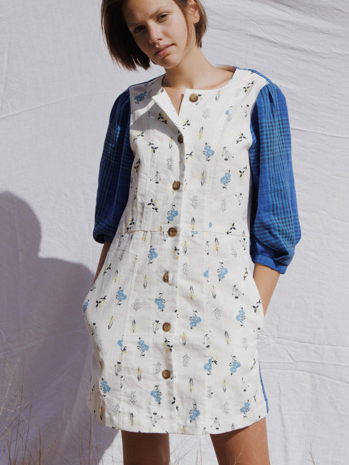 The Meg Patchwork Dress by RYDER linen plaid wildflower
