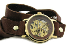 Load image into Gallery viewer, Women's double wrap auto mechanical brown leather strap