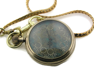 Mechanical brass Pocket Watch with blue Dial