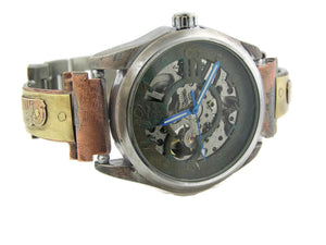 Brass Automatic Mechanical Watch, blue Dial