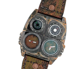 Load image into Gallery viewer, Men's Large Dial Two Time Zone Watch with Compass And Thermometer Leather Band