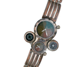 Load image into Gallery viewer, Men's Large Dial Two Time Zone Watch with Compass And Thermometer