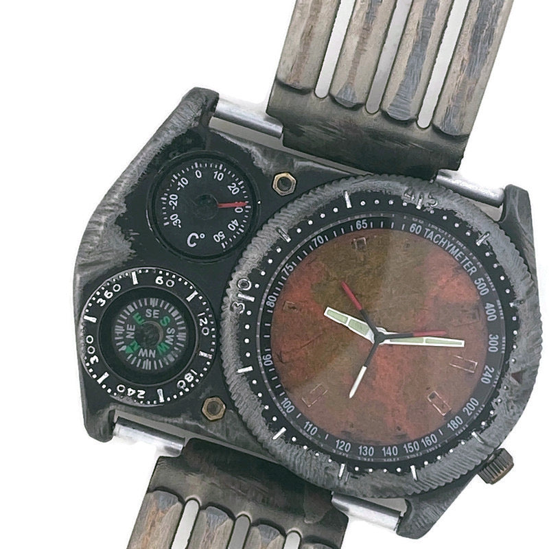 Men's Large Dial Watch with Compass And Thermometer