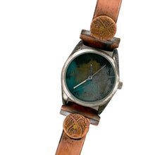 Load image into Gallery viewer, Women's Copper & brass Watch, Blue Silver and Gold Dial
