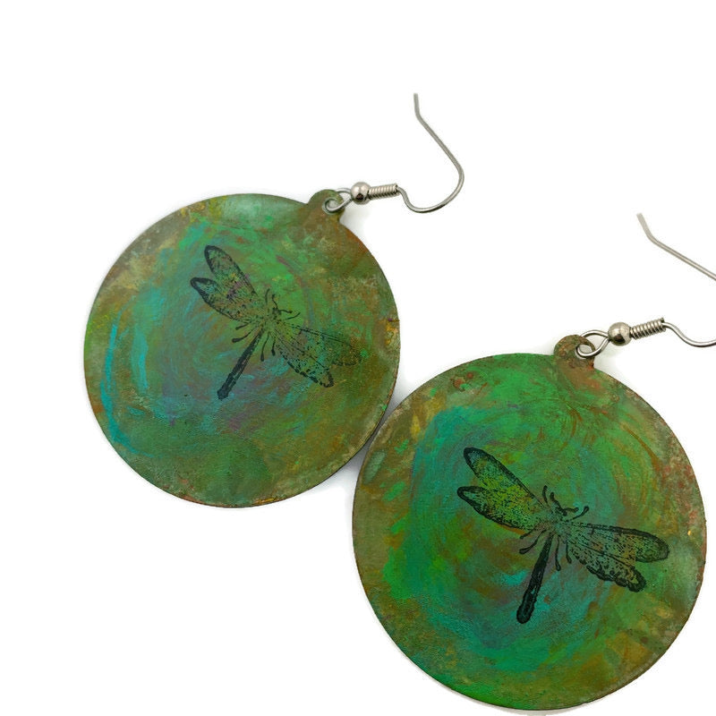 Large Dragonfly Patina Earrings