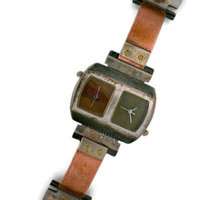 Load image into Gallery viewer, Two Time Zones Silver & Copper Watch, Copper & Green Dials