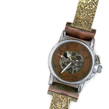 Load image into Gallery viewer, Small Automatic Mechanical Watch With Brass, copper Dial