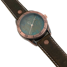 Load image into Gallery viewer, Large Blue Copper Dial Watch With Leather Band