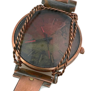 Men's Copper Watch With Red  Copper and Gold Dial