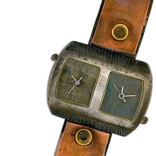 Load image into Gallery viewer, copper & brass Watch, blue & green Dials Two time zones