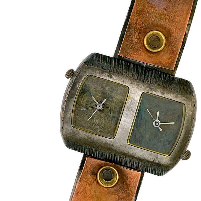 copper & brass Watch, blue & green Dials Two time zones