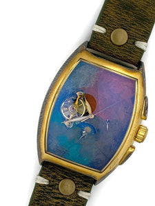 Men's Moon Automatic Mechanical Watch, Blue,Copper & Gold Dial with Leather Band
