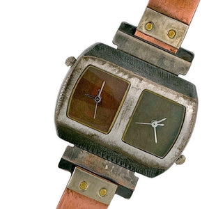 Two Time Zones Silver & Copper Watch, Copper & Green Dials