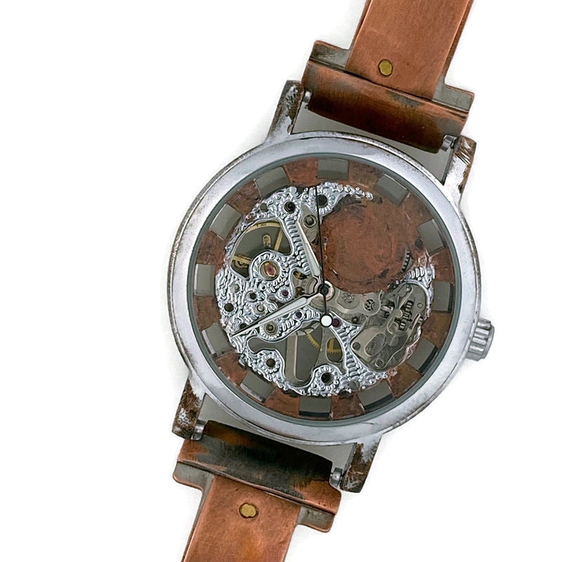 Copper Wind Up Mechanical Watch, Copper Dial