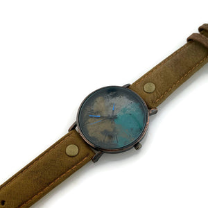 Watch Multi Color Dial With Brown Leather Band