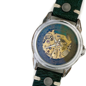 Automatic Mechanical Watch, Multi Color Dial With Leather Band