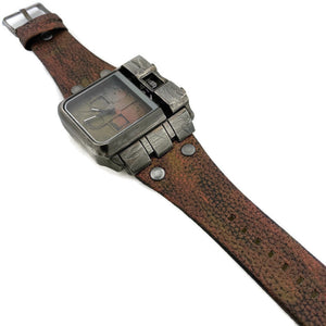 Men's Large Dial  Three Tone Watch with Leather Band