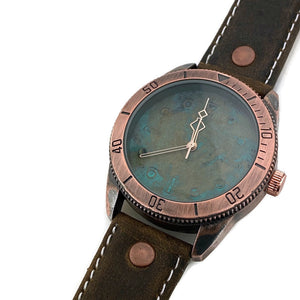 Large Blue Copper Dial Watch With Leather Band