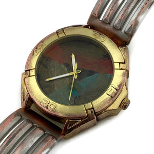 Men's Large Watch with Multi Color Dial