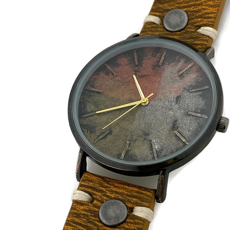 Three Tone Dial Watch with Leather Band