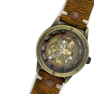 Men's Automatic Mechanical Watch, Copper Dial with Leather Band