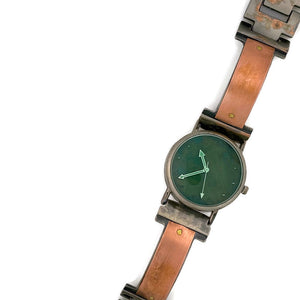 Women's Copper Watch, Blue Dial With Green Crystal