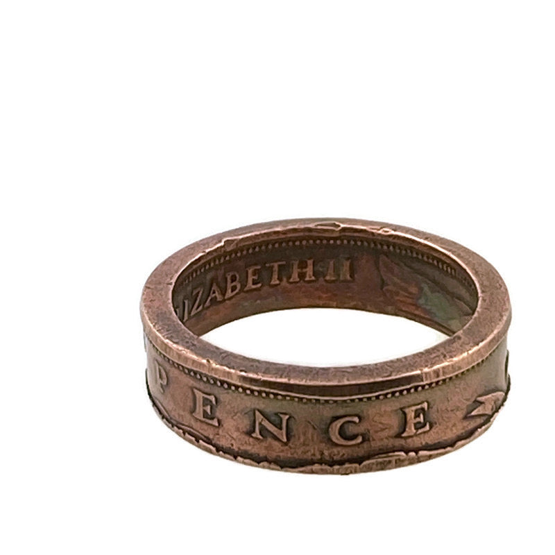 Copper New Pence Coin Ring - Size 8