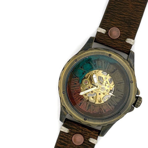 Men's Automatic Mechanical Watch, Blue Copper and Gold Dial with Leather Band