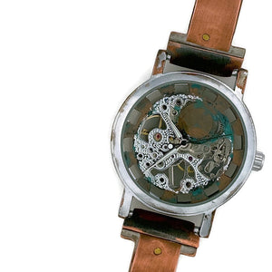 Copper Wind Up Mechanical Watch, Blue Dial
