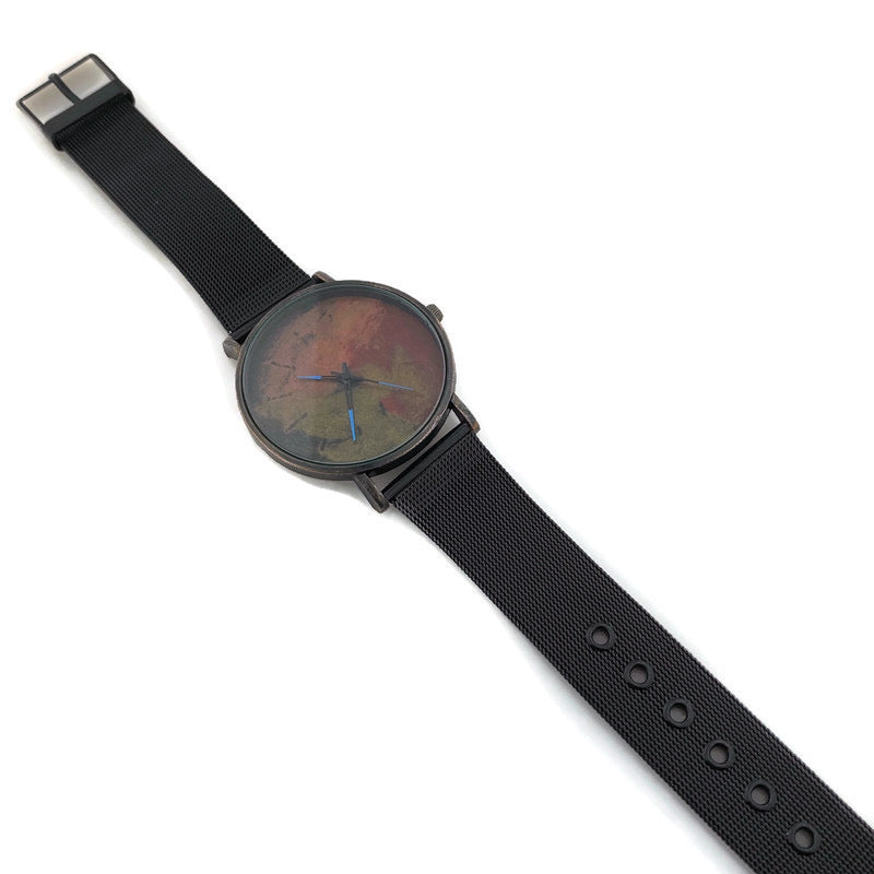Men's Watch Multi Color Dial With Black Mesh Band