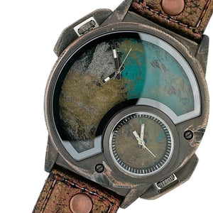Men's Large Dial  Multi Color Watch With Leather Band