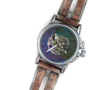 Small Automatic Mechanical Watch, blue Dial