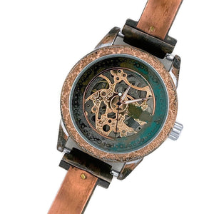 Copper Automatic Mechanical Watch, Blue Dial