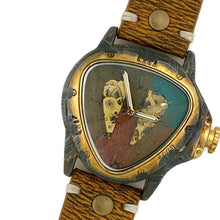 Load image into Gallery viewer, Men's Automatic Mechanical Watch, Blue Copper And Gold Dial with Leather Band