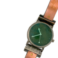 Load image into Gallery viewer, Women's Copper Watch, Blue Dial With Green Crystal