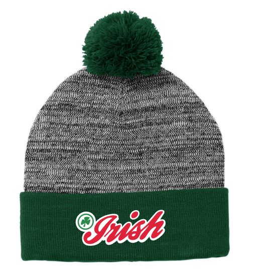 CCHS heather pom-pom beanie