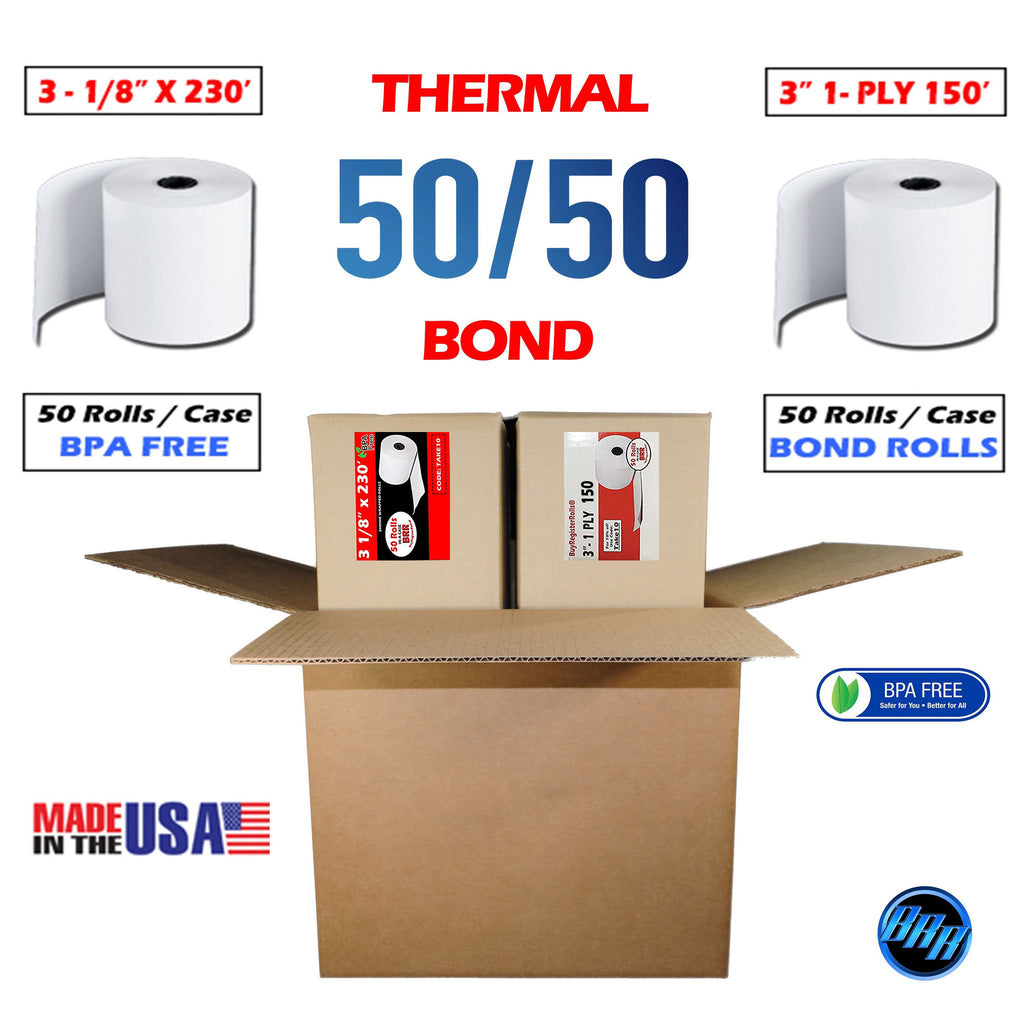 Combo Pack Cash Register Thermal Paper + 1 Ply Bond Paper Rolls | 3 1/8 x 230 Thermal Paper roll 50 Pack + 3 x 150' 1-ply Bond Paper 50 Rolls | Combo Value Pack