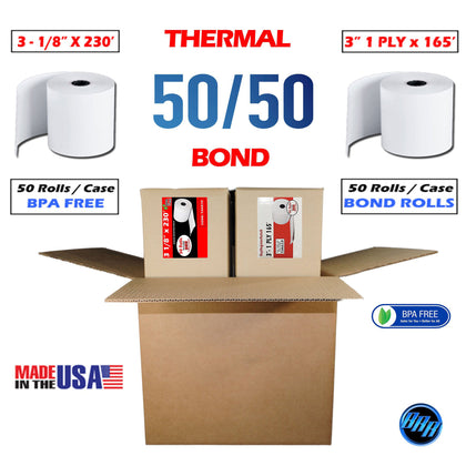 Combo Pack Cash Register Thermal Paper + 1 Ply Bond Paper Rolls | 3 1/8 x 230 Thermal Paper roll 50 Pack + 3 x 165 1-ply Bond Paper 50 Rolls | Combo Value Pack | from BuyRegisterRolls
